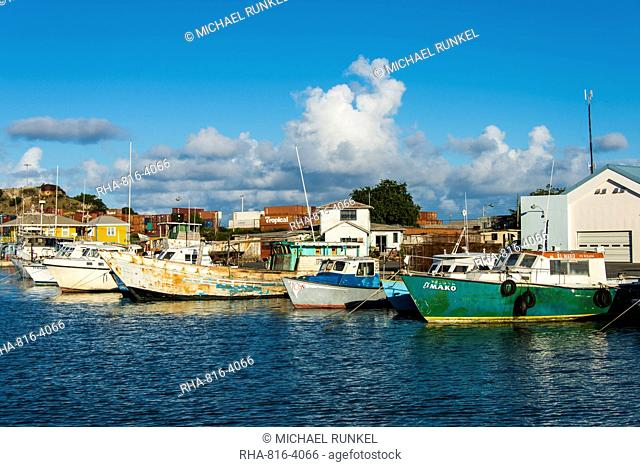 Boats in the harbour of the capital St. Johns in Antigua, Antigua and Barbuda, West Indies, Caribbean, Central America