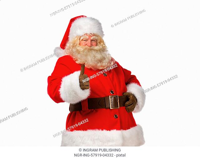 Portrait of happy Santa Claus isolated on white background thumbs up