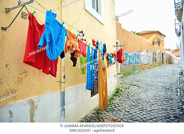 Clothesline in old street of Lisbon, Portugal