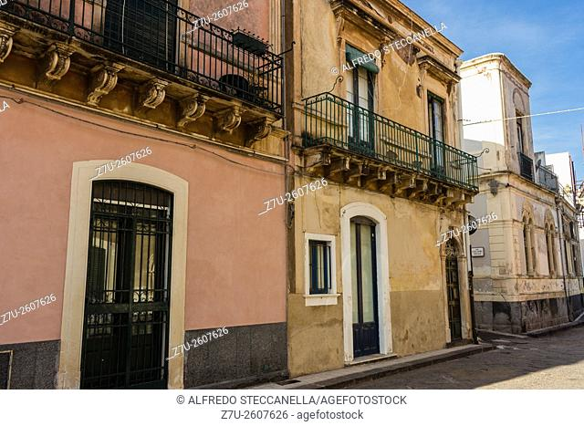 Acireale - Sicily. The very old houses and street