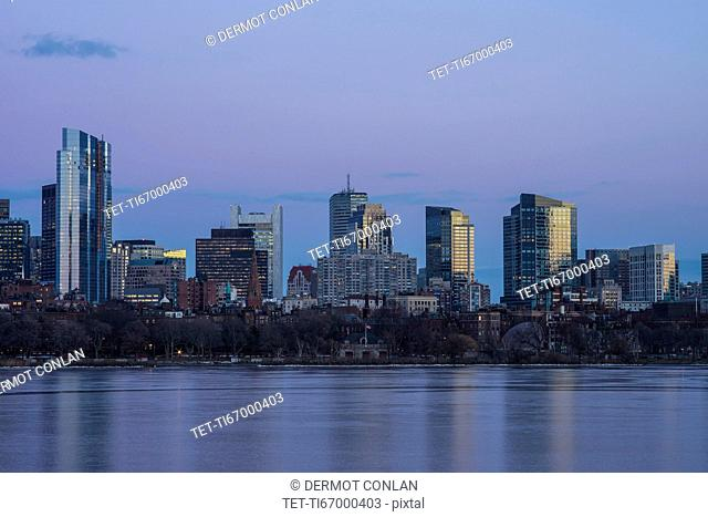 Charles river and downtown skyline at dusk