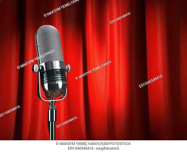Vintage microphone on stage with red curtain. Music concept. 3d illustration