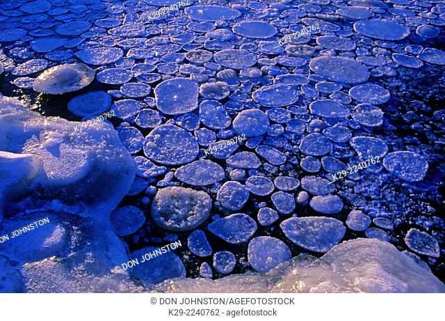 Ice floes on the Vermilion River in early winter, Greater Sudbury, Ontario, Canada