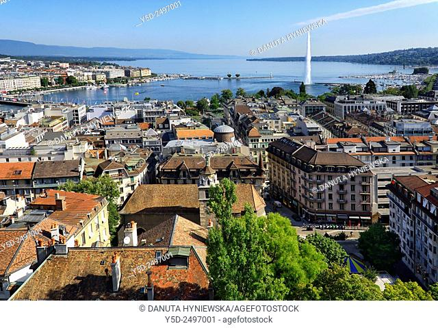Europe, Switzerland, Geneva, panoramic view for old town, Lake Geneva, famous fountain Jet d'Eau
