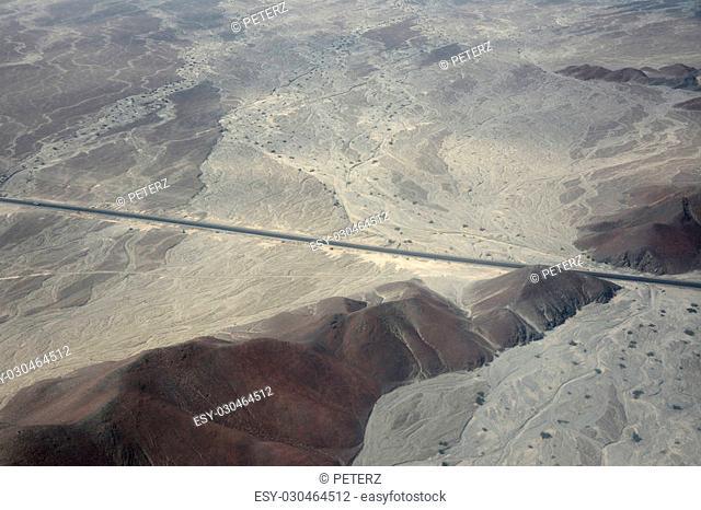 Aerial shot of the Nazca desert. Peru