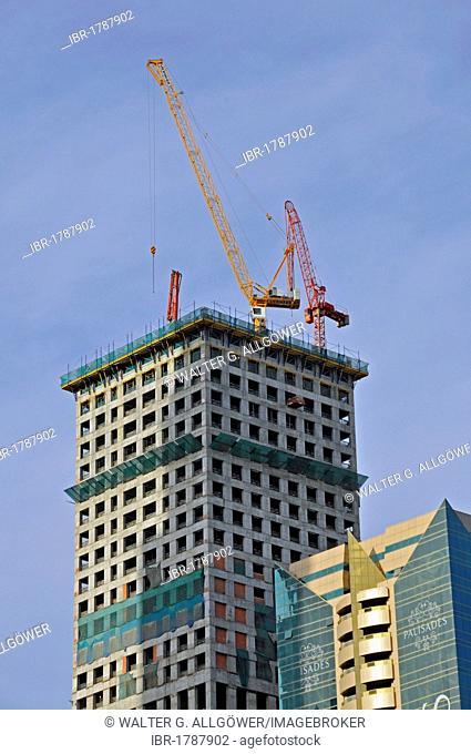 Skyscrapers and construction cranes, Dubai City, Dubai, United Arab Emirates, Middle East