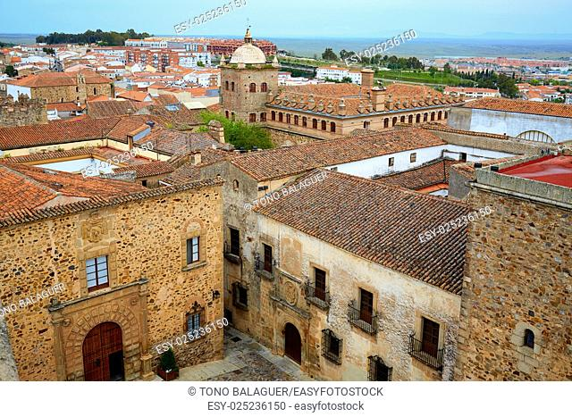 Caceres monumental aerial city in Extremadura of spain