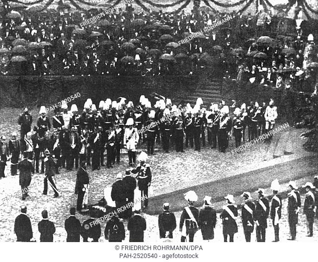 Emperor Wilhelm I. (m) participates in the laying of the foundation stone for the new Reichstag in Berlin in 1884. Imperial chancellor Otto von Bismarck...