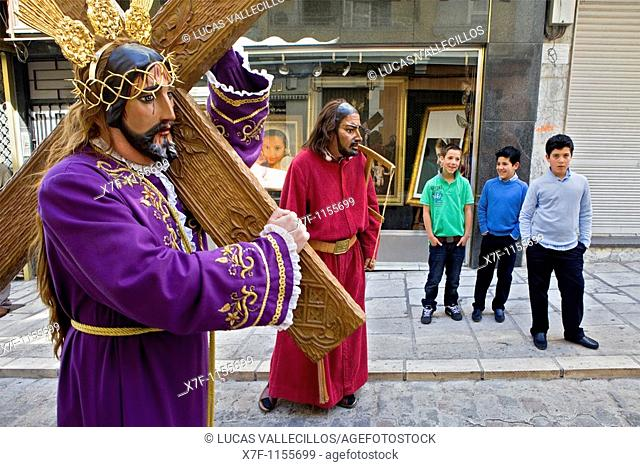 `Figuras' and spectators Holy Week  Easter Sunday Puente Genil  Córdoba province  Spain