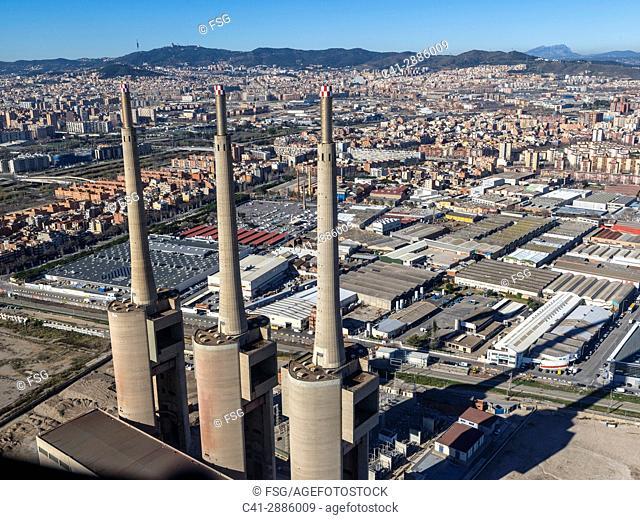 Power plant towers. Sant Adrià del Besòs. Spain