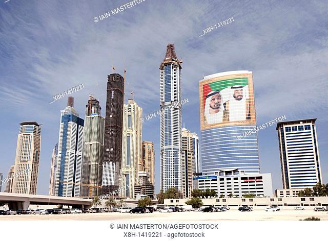 Skyline of tall apartment towers at Jumeirah Marina area of Dubai United Arab Emirates,UAE