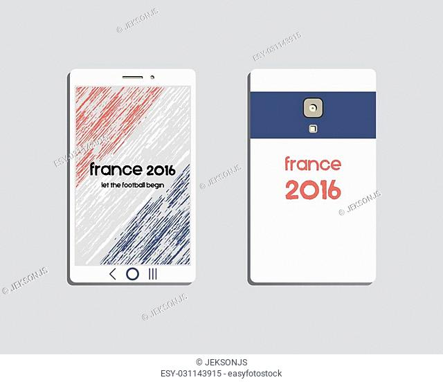Corporate identity template design. Mobile device and smartphone. Corporate branding. France 2016 Football. The national colors of France