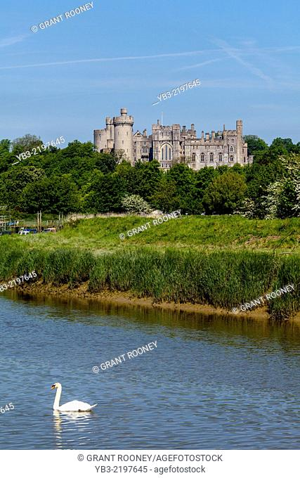 Arundel Castle and The River Arun, Arundel, West Sussex, England