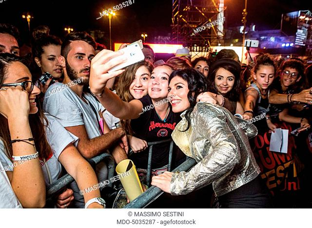 Songwriter Giusy Ferreri having a selfie with a fan Coca-Cola Summer Festival. Rome, Italy. 26th June 2015