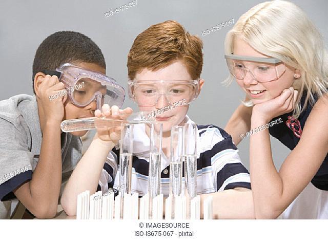 Children doing an experiment