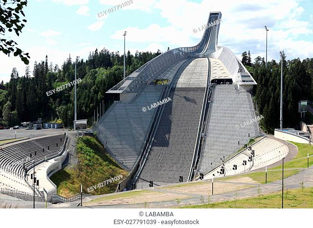 Holmenkollen ski jump hill Oslo, Norway on July 26, 2012. The hill record is unofficially held by Anders Jacobsen at 142.5 meters