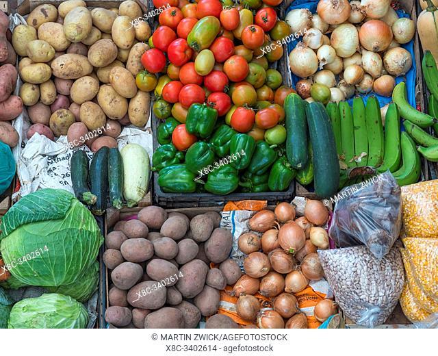 The market. Town of Assomada (Somada). Island of Santiago (Ilha de Santiago), Islands of Cape Verde in the equatorial Atlantic