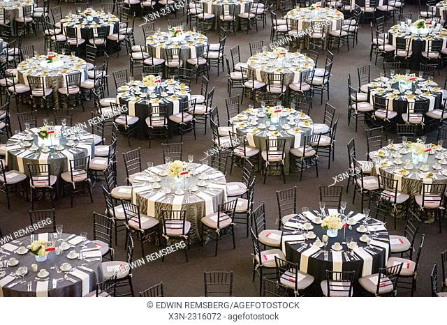 Tables and chairs at a Gala in Towson, Maryland, USA