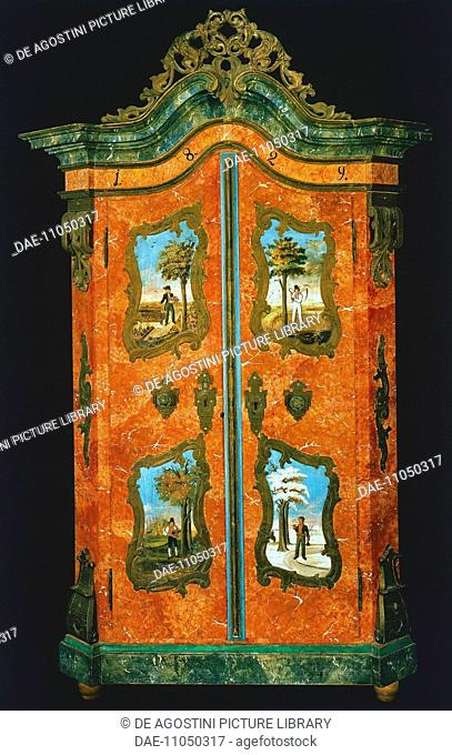 Wardrobe with two painted doors, folk art. Germany, 19th century.  Private Collection