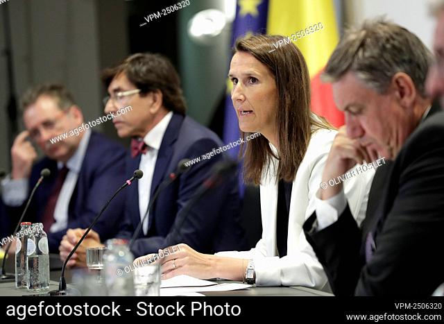 Belgian Prime Minister Sophie Wilmes pictured during a press conference following a meeting of the National Safety Council