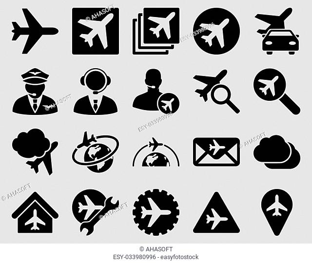 Aviation Icon Set. These flat icons use black color. Raster images are isolated on a light gray background