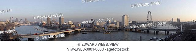 London Panoramas, London, United Kingdom. Architect: not applicable, 2013. Elevated river view from north with Waterloo Bridge and Southbank