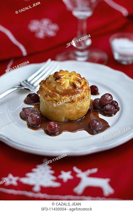 Hare pie with cherries for Christmas