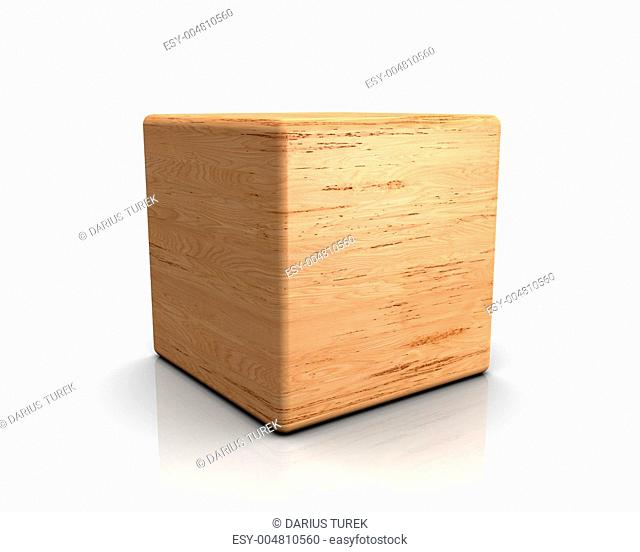 3D Holzwürfel abgerundet - Birke Maser