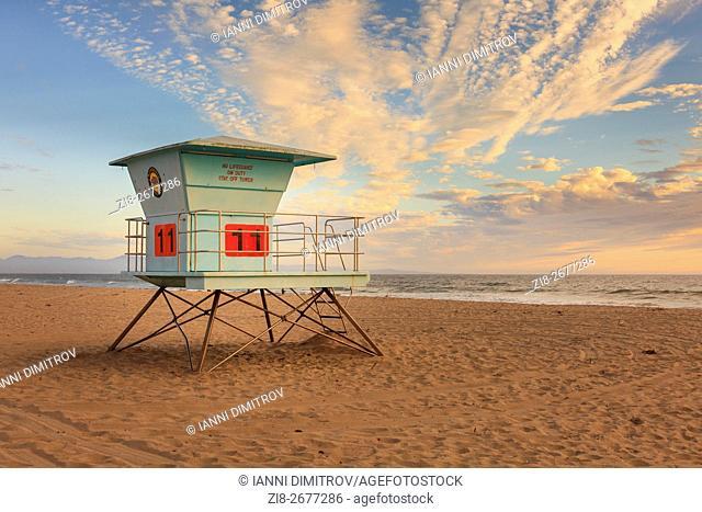 Lifeguard tower, Monterey Bay, California, USA
