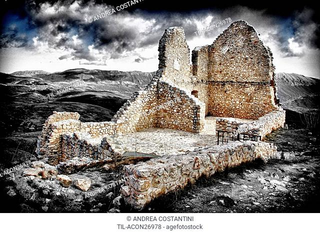 Ruins of Rocca Calascio, a mountaintop fortress or rocca in the Province of L'Aquila in Abruzzo, Italy At an elevation of 1460 metres