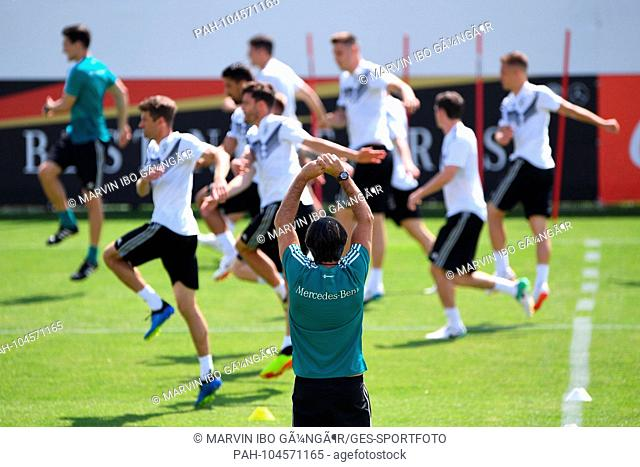 coach Joachim Loew (Germany) watches the training of his players. GES / Football / Preparation for the 2018 World Cup: Training of the German national team in...