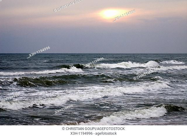 sunset on mediterranean sea, Saintes-Maries-de-la-Mer, Camargue, , Bouches-du-Rhone department, France
