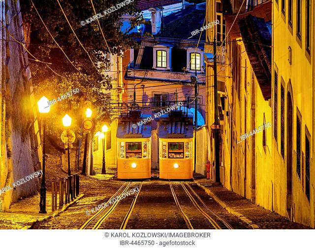 Gloria Funicular, twilight, Lisbon, Portugal