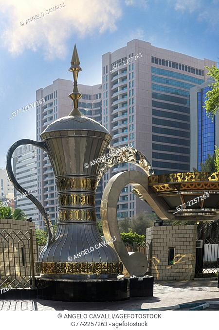Arab coffee pot monument downtown Abu Dhabi, UAE
