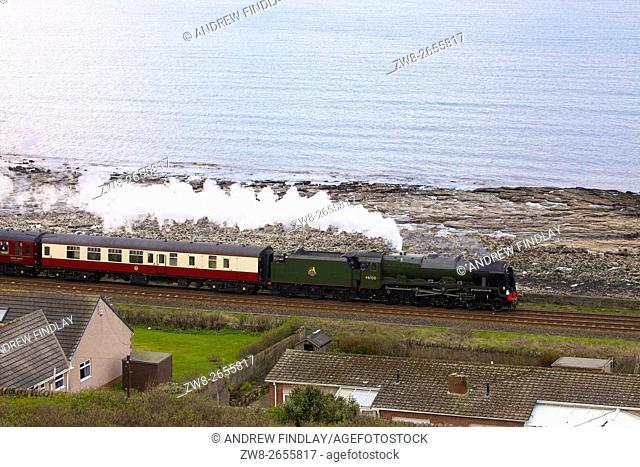 Steam train LMS Royal Scot Class 7P 4-6-0 46100 Royal Scot. Tanyard Bay, Parton, Whitehaven, Cumbria, England, United Kingdom, Europe