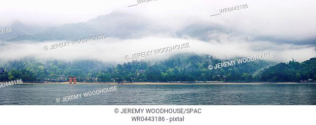 Panoramic View of Landscape Across a Lake
