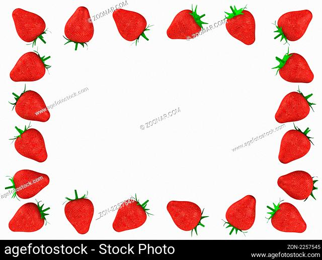 Strawberry photo frame 3d rendered for commercial