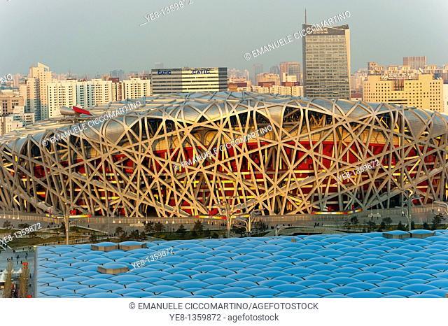 Bird's Nest National Stadium and Watercube National Swimming Centre, 2008, Olympic Green, Beijing, China, Asia