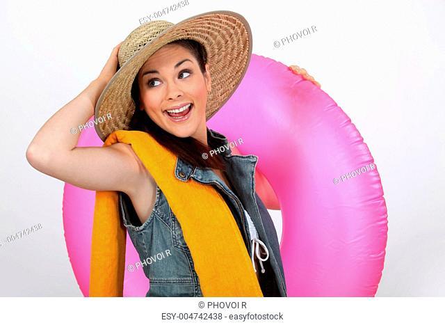 Enthusiastic girl ready for the beach