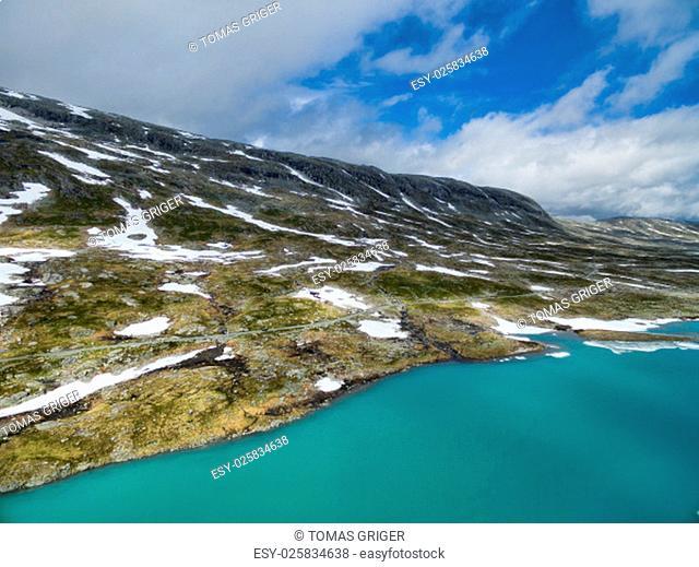 Scenic aerial view of mountain lake in Gamle Strynefjellsvegen, Norway