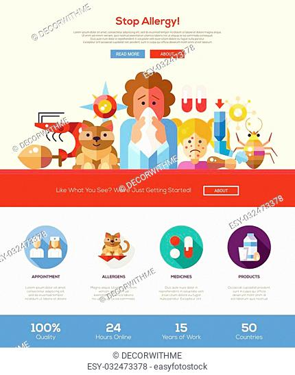 Stop allergy information web site one page website template layout with thin line design header, banner, icons and other flat design web elements