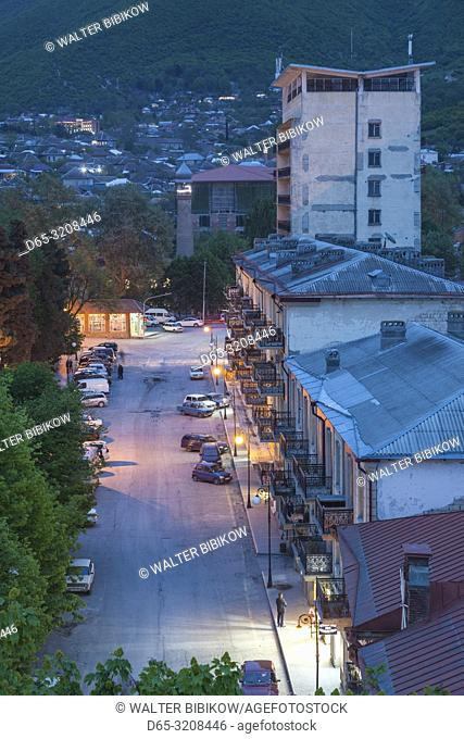 Azerbaijan, Sheki, high angle city skyline, dusk