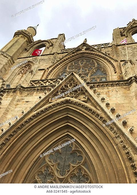 A flag on Lala Mustafa Pasha Mosque formerly St. Nicholas Cathedral, Famagusta, Cyprus