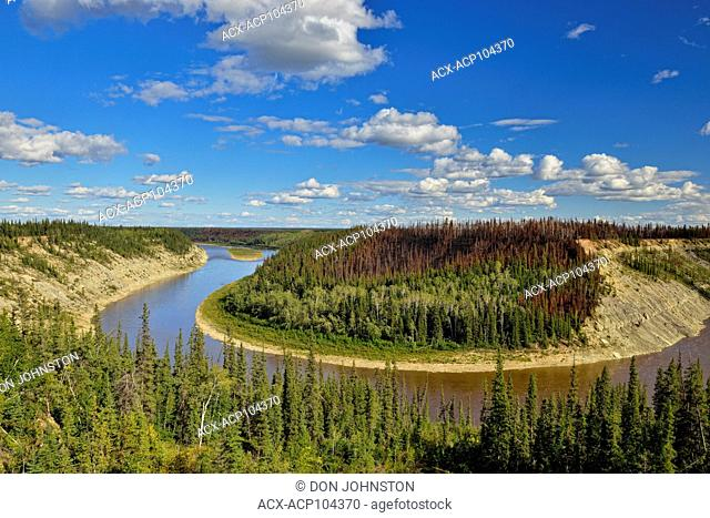 Hay River gorge with recent forest fire, Enterprise, Northwest Territories, Canada