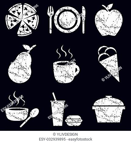 Food icon set, white scratched images on black background