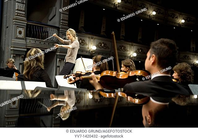Inma Shara rehearsing with the Transylvania Philharmonic orchestra before the concert at the Cervantes Theater  Malaga, Costa del Sol, Andalusia, Spain