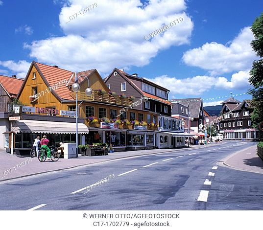 Germany, Braunlage, Harz, Upper Harz, nature reserve Harz, Lower Saxony, town centre, Herzog Wilhelm Street, main road, residential buildings, shops