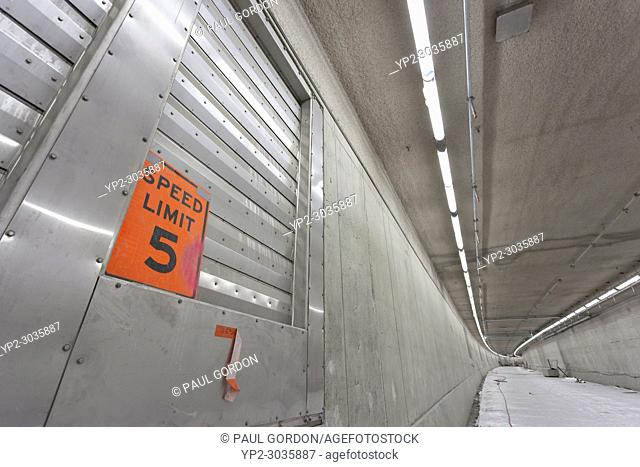 Seattle, Washington: Speed limit sign on the lower deck of the SR 99 Tunnel under construction. The Alaskan Way Viaduct Replacement Programâ