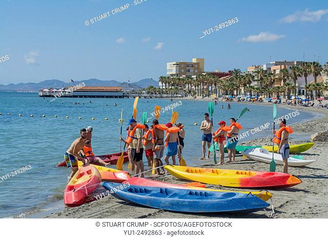 Canoes on the beach at Los Alcazares in Murcia
