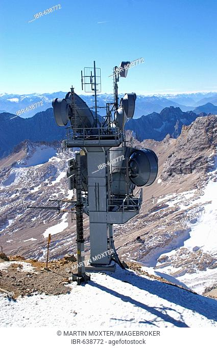 Radio installation at the peak of Mt. Zugspitze with a panoramic view of the Lechtaler (Lech Valley) Alps, Bavaria, Germany, Europe